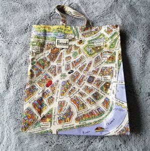 Vintage Harrods Knightsbridge Map Tote Bag 🇬🇧